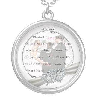 Hearts White Wedding Round Silver Necklace