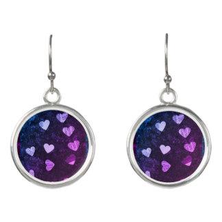 Hearts with purple earrings