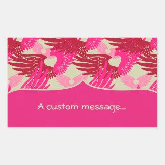 Heartwings Camouflage: Pink & Beige Rectangular Sticker