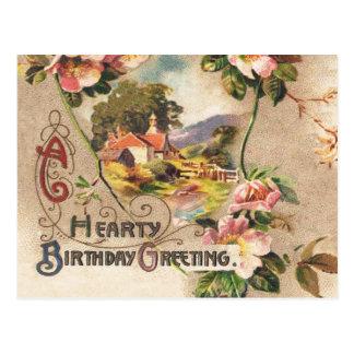 Hearty Birthday Greeting Vintage Postcard