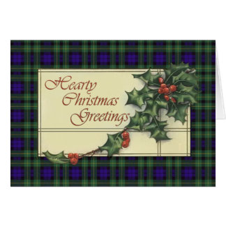 Hearty Season's Greetings,  Campbell  tartan Card