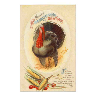Hearty Thanksgiving Greetings Vintage Photo Print