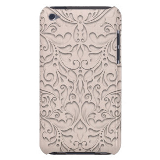 HeartyChic Coral linen Damask Heart Barely There iPod Covers