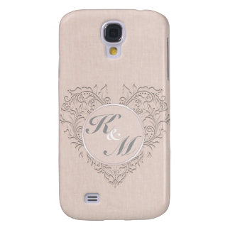 HeartyChic Coral linen Damask Heart Galaxy S4 Cases