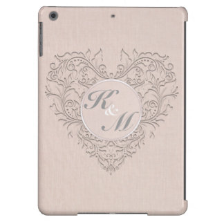 HeartyChic Coral linen Damask Heart iPad Air Cover