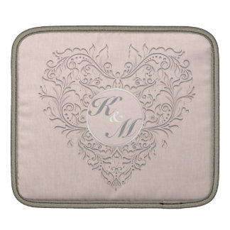 HeartyChic Coral linen Damask Heart iPad Sleeves