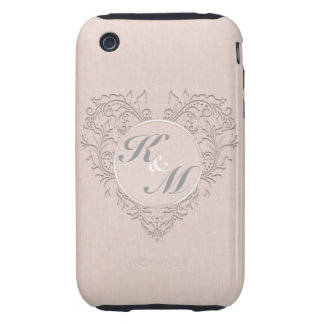 HeartyChic Coral linen Damask Heart iPhone 3 Tough Cover