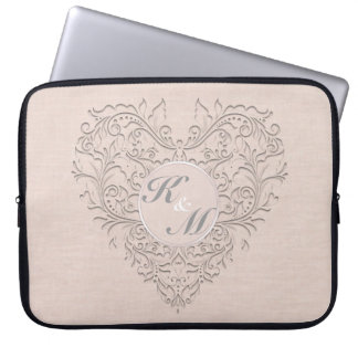 HeartyChic Coral linen Damask Heart Laptop Sleeves