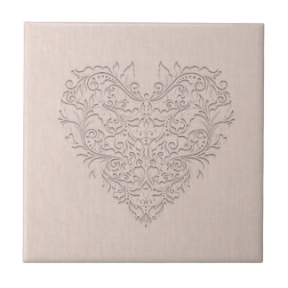 HeartyChic Coral Linen Damask Heart Small Square Tile