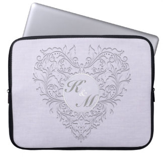 HeartyChic Lavender linen Damask heart Computer Sleeve
