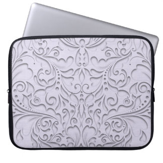 HeartyChic Lavender linen Damask heart Computer Sleeves