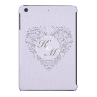 HeartyChic Lavender linen Damask heart iPad Mini Retina Case