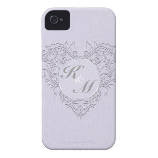 HeartyChic Lavender linen Damask heart iPhone 4 Cover