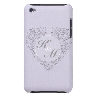 HeartyChic Lavender linen Damask heart iPod Case-Mate Cases