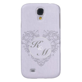 HeartyChic Lavender linen Damask heart Samsung Galaxy S4 Covers