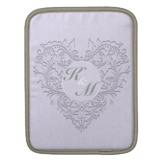 HeartyChic Lavender linen Damask heart Sleeve For iPads