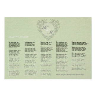 HeartyChic lime Green Linen damask heart Poster