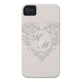 HeartyChic Natural Linen Damask Heart Case-Mate iPhone 4 Cases