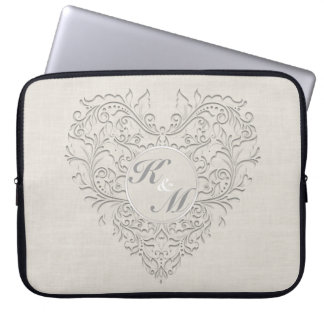HeartyChic Natural linen Damask Heart Computer Sleeves