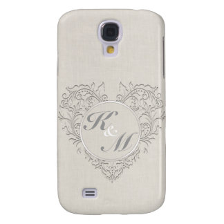 HeartyChic Natural Linen Damask Heart Galaxy S4 Cases