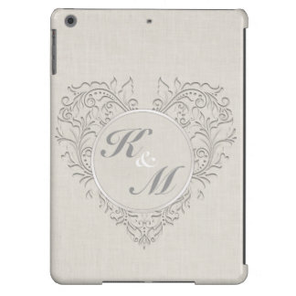HeartyChic Natural linen Damask Heart iPad Air Cases