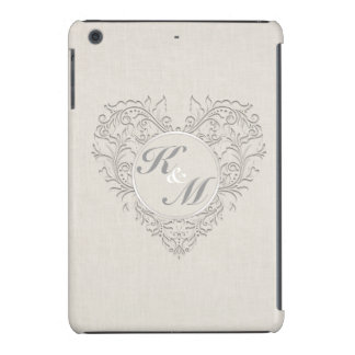 HeartyChic Natural linen Damask Heart iPad Mini Retina Cover