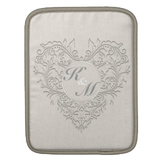 HeartyChic Natural Linen Damask Heart iPad Sleeve