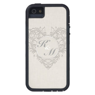 HeartyChic Natural Linen Damask Heart iPhone 5 Case