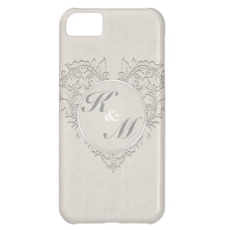 HeartyChic Natural Linen Damask Heart iPhone 5C Case
