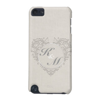 HeartyChic Natural linen Damask Heart iPod Touch (5th Generation) Cases