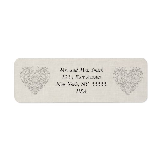 HeartyChic Natural linen Damask Heart Return Address Label