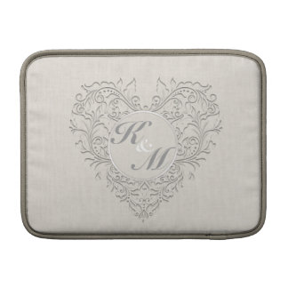 HeartyChic Natural linen Damask Heart Sleeves For MacBook Air