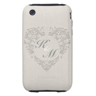 HeartyChic Natural linen Damask Heart Tough iPhone 3 Cases