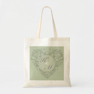 HeartyChic Sage Green Damask Heart Budget Tote Bag