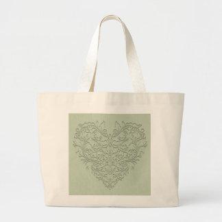 HeartyChic Sage Green Damask Heart Jumbo Tote Bag
