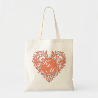 HeartyParty Coral And White Damask Heart Budget Tote Bag