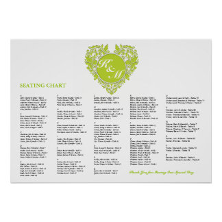 HeartyParty Lime Green And White Damask Heart Poster