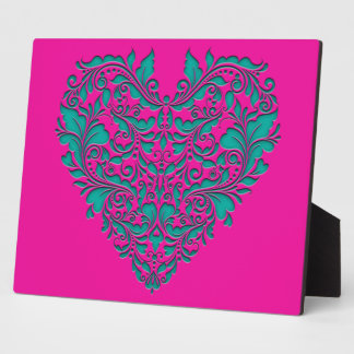 HeartyParty Magenta And Teel Damask Heart Display Plaques