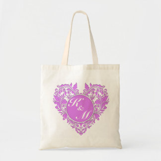 HeartyParty Pink And White Damask Heart Budget Tote Bag