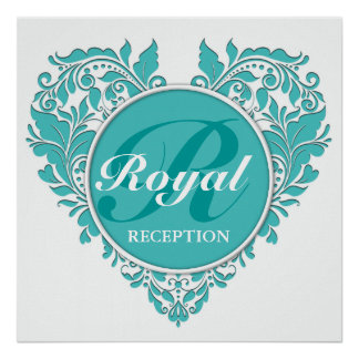 HeartyParty Turquoise blue And White Damask Heart Poster