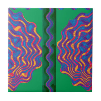 Heat Fire Flame Wave Warmth Template Gifts blue Small Square Tile
