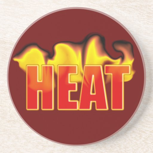 Heat Logo With Burning Flames Drink Coasters