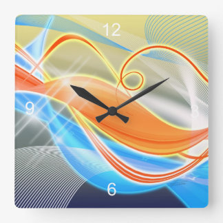 Heat Wave Square Wall Clock