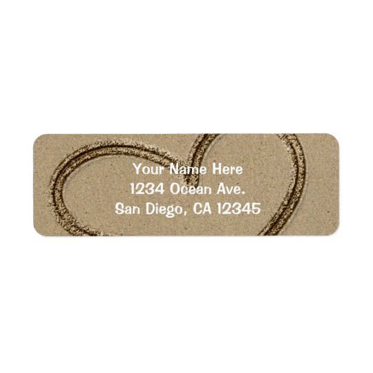 Heat Writing in Sand Wedding Love Address Label