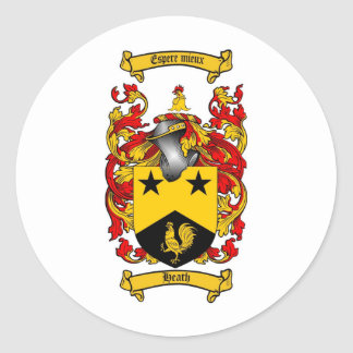 HEATH FAMILY CREST -  HEATH COAT OF ARMS CLASSIC ROUND STICKER