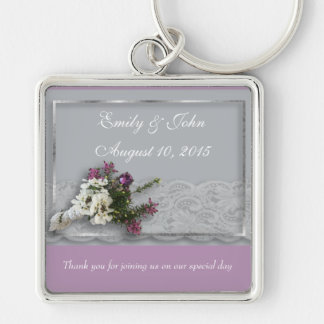 Heather and Lace wedding favor Silver-Colored Square Key Ring