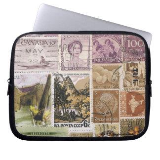 Heather Landscape Laptop Case, Postage Stamp Art Laptop Sleeve