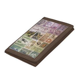 Heather Moss Wallet, Abstract Landscape Stamp Art Tri-fold Wallets