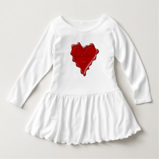 Heather. Red heart wax seal with name Heather Dress