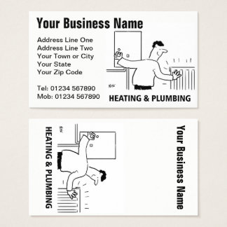 Heating Services Cartoon Business Card